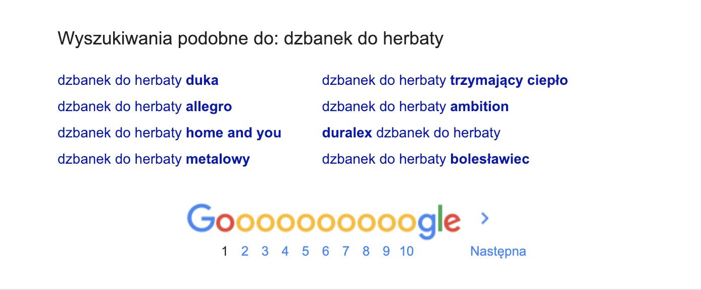 podobne wyszukiwania google