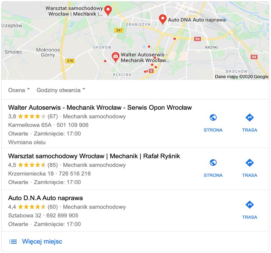 Obraz przedstawia mapę i wizytówki Google warsztatów samochodowych.
