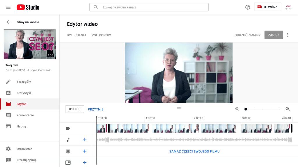 pozycjonowanie you tube - edytor wideo